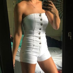 White Denim Strapless Romper